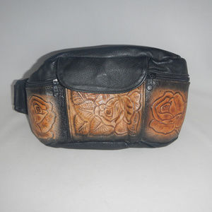 Handbags - Tooled Leather Fannypack Fanny Pack Roses Vintage
